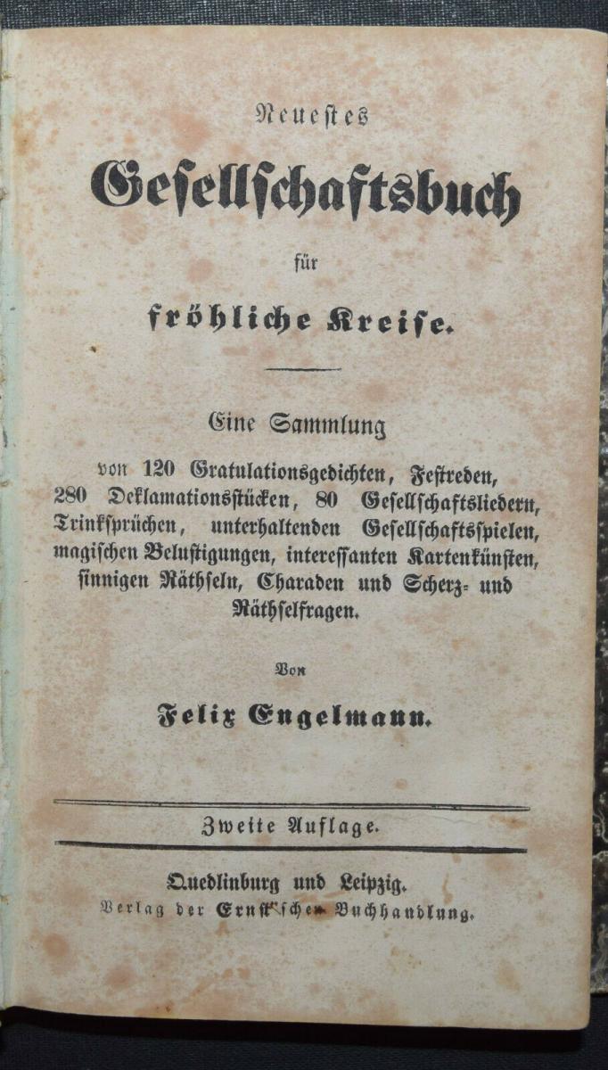 KARTEN-TRICKS RÄTSEL ZAUBEREI UM 1850- GESELLSCHAFTSBUCH FÜR FRÖHLICHE KREISE 0