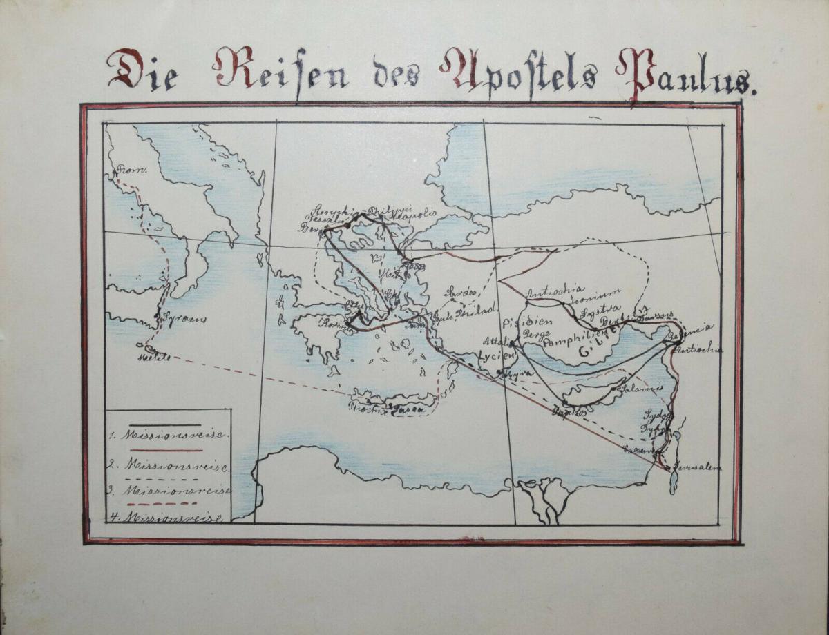 LASSEN - SCHULHEFT MIT 5 HANDGEZEICHNETEN FARBIGEN KARTEN - THÜRINGEN UM 1930 0
