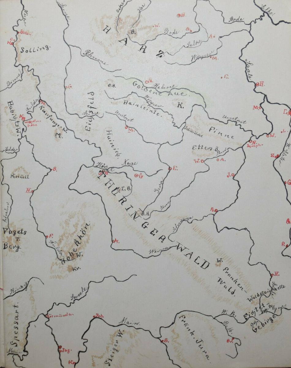 LASSEN - SCHULHEFT MIT 5 HANDGEZEICHNETEN FARBIGEN KARTEN - THÜRINGEN UM 1930 1