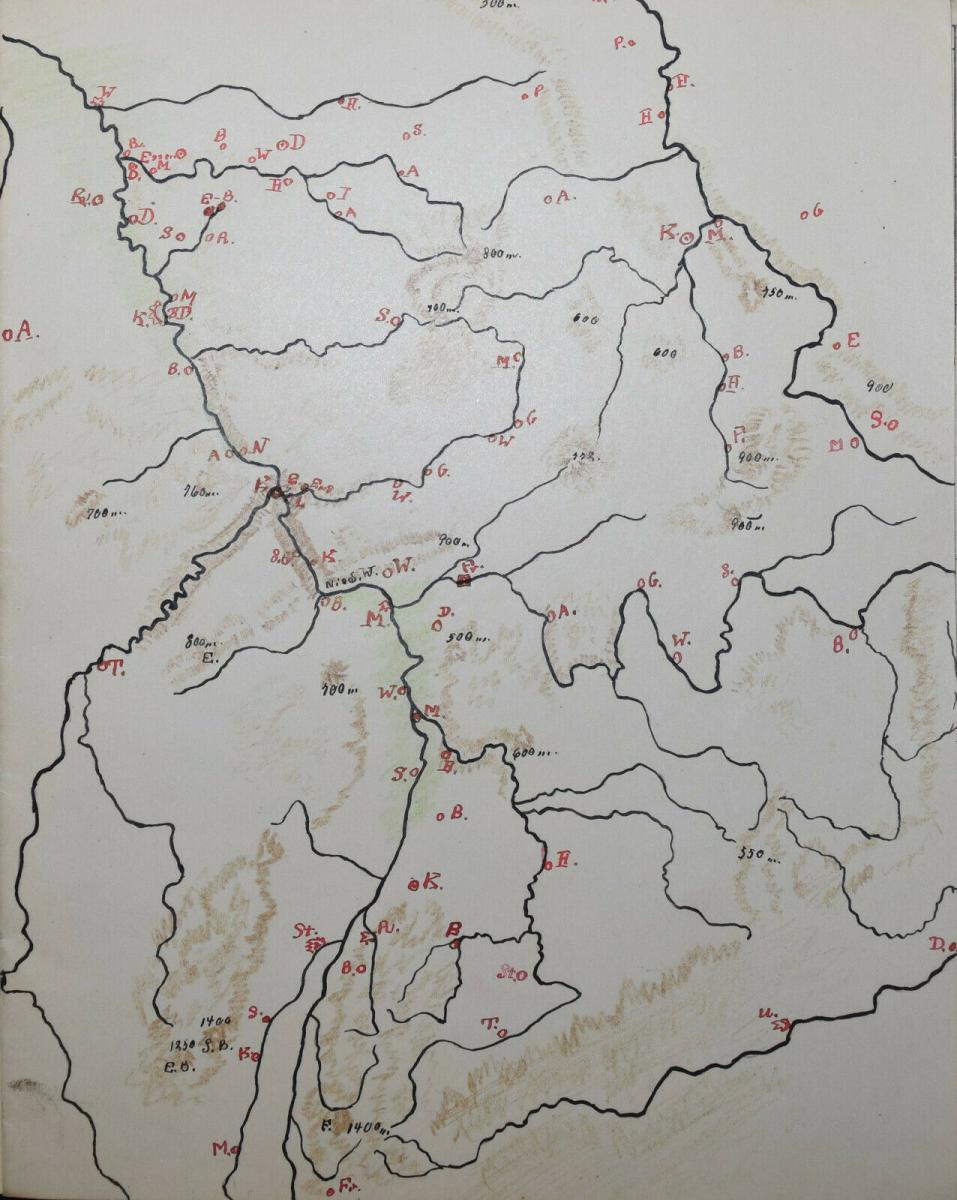 LASSEN - SCHULHEFT MIT 5 HANDGEZEICHNETEN FARBIGEN KARTEN - THÜRINGEN UM 1930 4