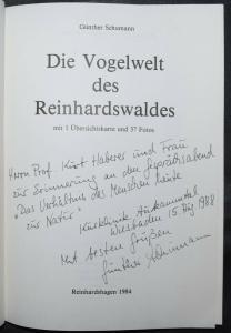 SCHUMANN, DIE VOGELWELT DES REINHARDSWALDES - WIDMUNGSEXEMPLAR - SIGNIERT