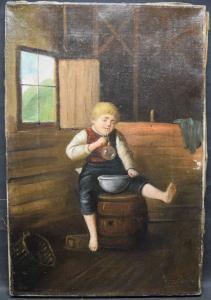 SEIFENBLÄSER - ÖL AUF LEINWAND - ÖSTERREICH ? UM 1840. 45 X 30 CM - BIEDERMEIER