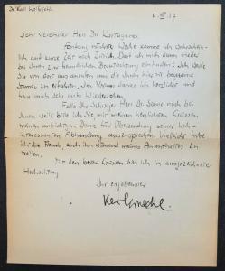 EIGENHÄNDIGER BRIEF VON KARL WOLFSKEHL - 1937 - GEORGE-KREIS
