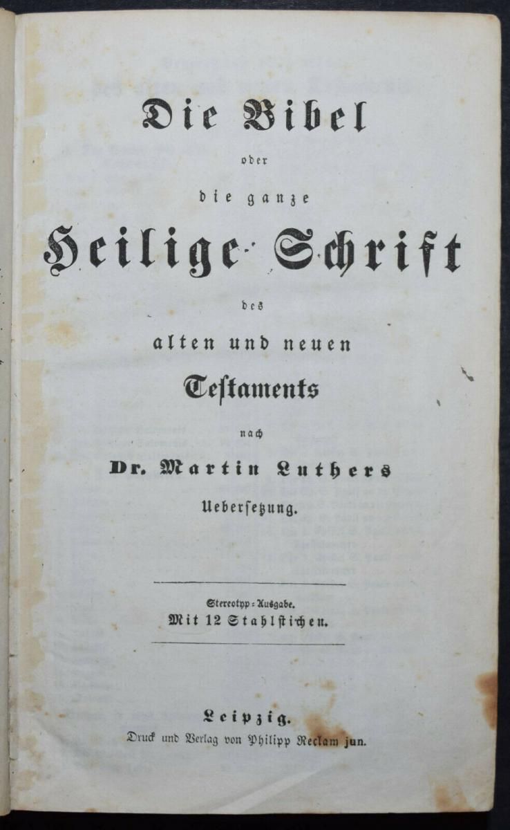 BIBLIA GERMANICA – DIE BIBEL ODER DIE GANZE HEILIGE SCHRIFT - UM 1845 6
