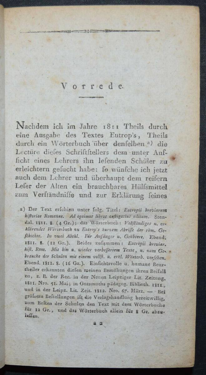 EUTROPIUS - EUTROPII BREVIARIUM HISTORIAE ROMANAE - ERSTAUSGABE 1813 - ANTIKE 3