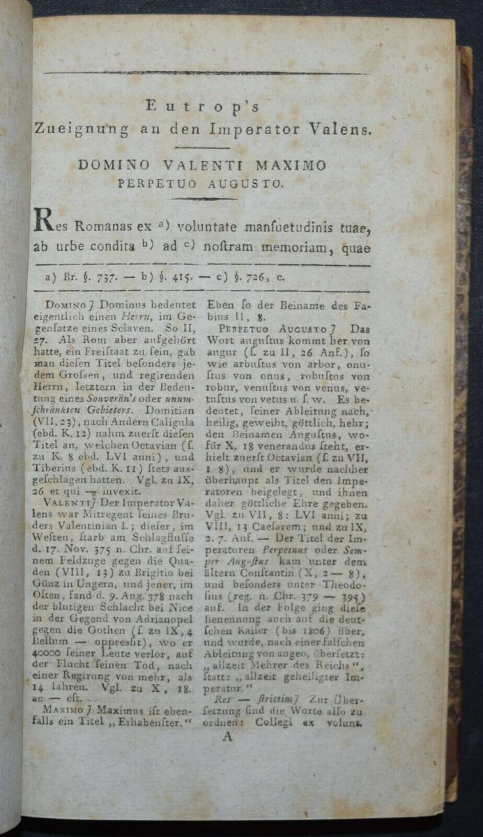 EUTROPIUS - EUTROPII BREVIARIUM HISTORIAE ROMANAE - ERSTAUSGABE 1813 - ANTIKE 4