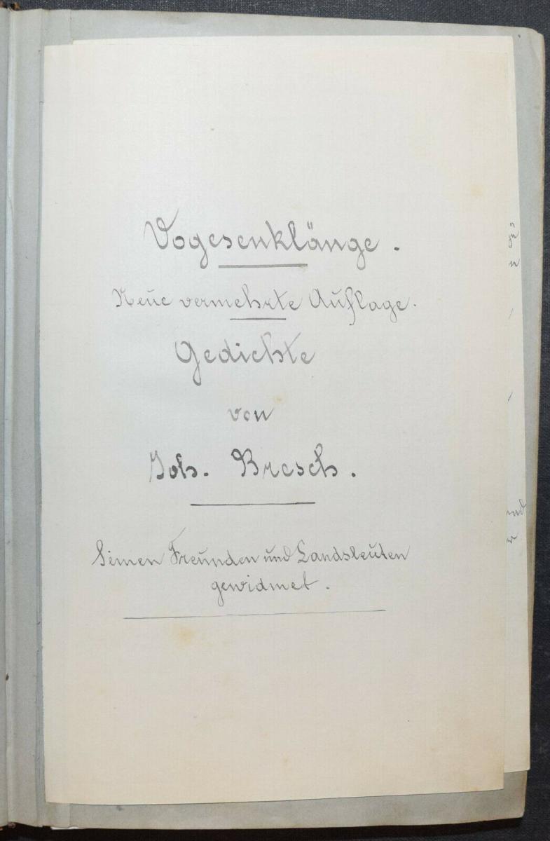 JOHANN BRESCH - VOGESENKLÄNGE - ORIGINAL-MANUSKRIPT 1887 -  ELSASS - HANDSCHRIFT 0