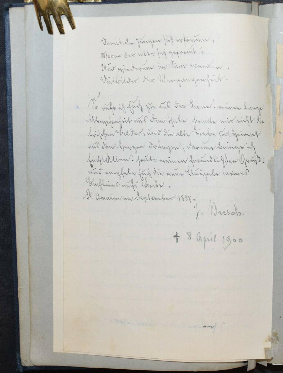 JOHANN BRESCH - VOGESENKLÄNGE - ORIGINAL-MANUSKRIPT 1887 -  ELSASS - HANDSCHRIFT 3