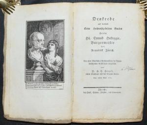 H. C. Hirzel - Denkrede auf Conrad Heidegger - 1778 - Einzige Ausgabe - Zürich