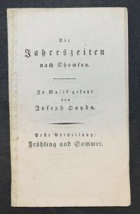 Joseph Haydn - Die Jahreszeiten nach Thomson um 1805 - Libretto