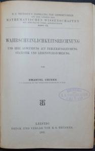 E. CZUBER WAHRSCHEINLICHKEITSRECHNUNG - WIRTSHACHAFTS-MATHEMATIK 1903