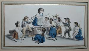 GOTTFRIED MIND - SPIELENDE KINDER -  ORIGINAL-AQUARELL, BERN UM 1810