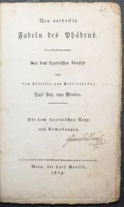 PHAEDRUS. NEU ENTDECKTE FABELN DES PHÄDRUS - 1815 - ALTPHILOLOGIE ANTIKE FABELN