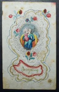 Andachtsbild – (Der heilige) Josef  Weißschnitt in Papier mit Gouache-Malerei