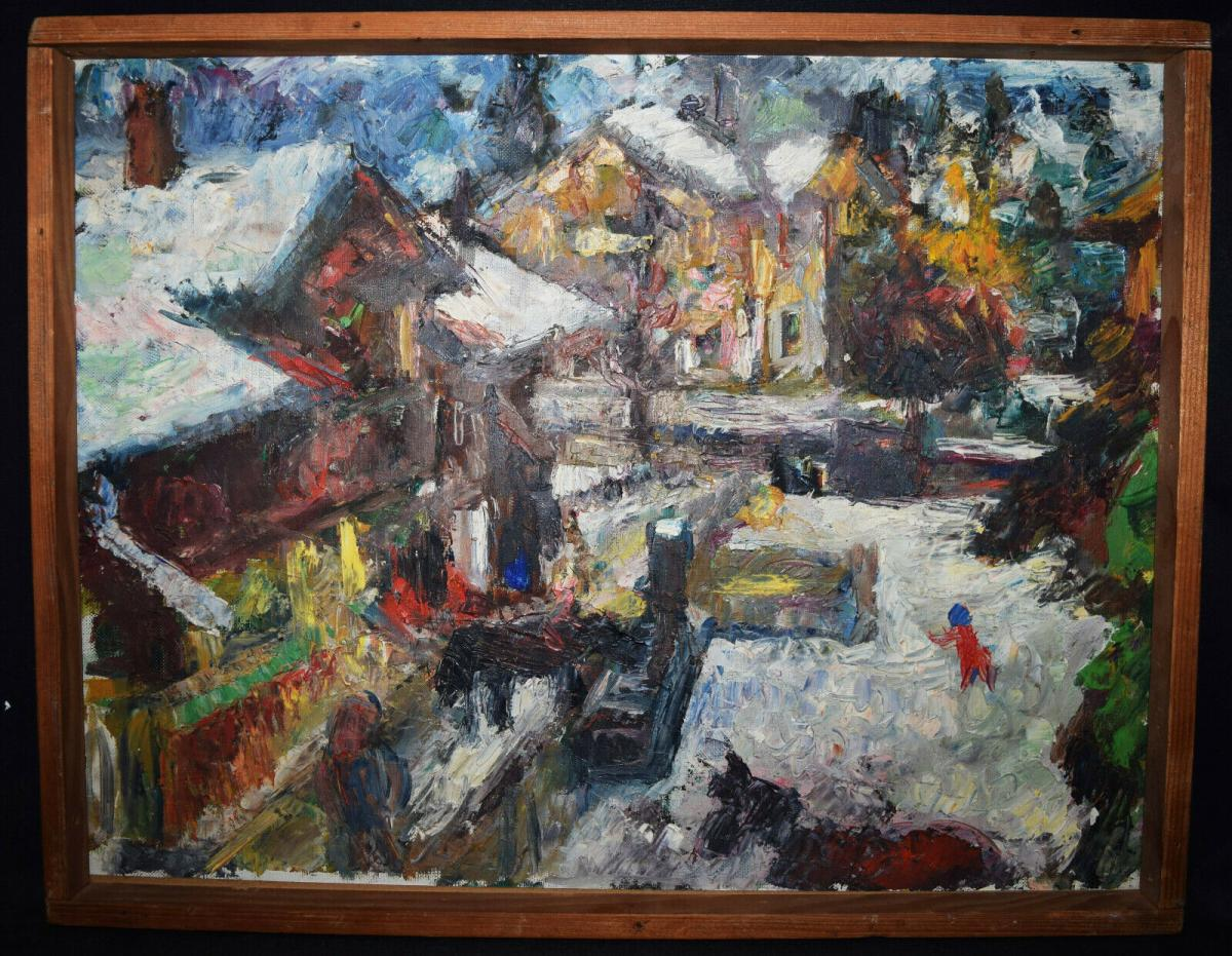 Karl Gerber, Dorf im Tessin um 1950 Öl auf Karton 60 x 47 cm - IMPRESSIONISMUS 0