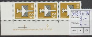 DDR-Druckvermerke: Flugpostmarke 25 Pfg. mit v-Papier  DV