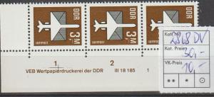 DDR-Druckvermerke: Flugpostmarke 3 Mark  DV
