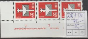 DDR-Druckvermerke: Flugpostmarke 5 Mark  DV