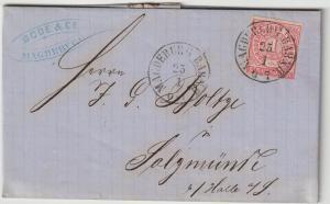 NDP: Kabinettbriefchen vom Magdeburger Bahnhof nach Salzmünde, 1868