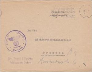 Generalgouvernement (GG) Feldpostbrief Warschau mit Werbestempel