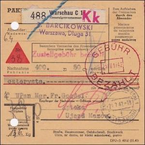 Generalgouvernement (GG)  Paketkarte mit Gebühr bezahlt Stempel