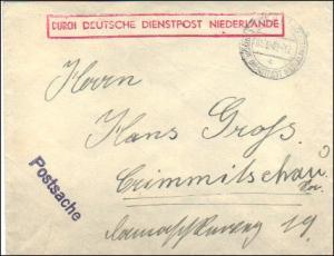 Deutsche Dienstpost Niederlande - Postsache Einsatz Westen - Postschutzkommando