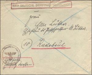 Durch Deutsche Dienstpost Niederlande - Postschutz - Postsache Einsatz Westen