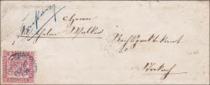 Baden: MiNr. 18, 1867, von Basel nach Stockach (Bahnpoststempel Basel-Konstanz)