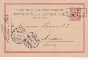 Elsass: 1886, Ganzsache DR von Bühl nach Aargau (Schweiz)