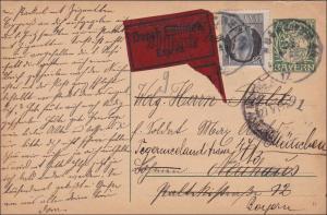 Bayern: 1917: Eilboten Ganzsache