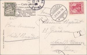 Bayern: 1906: AK aus München nach Frankreich mit Nachporto
