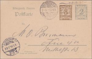 Bayern: Ganzsache 1906 von Nürnberg nach Aue
