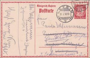 Bayern: Ganzsache 1918 von Landshut nach Leysin