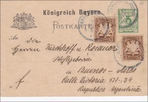 Bayern: Ganzsache 1898 von Landshut nach Buenos Aires