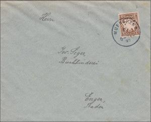 Bayern: 1897: Brief von München nach Engen in Baden