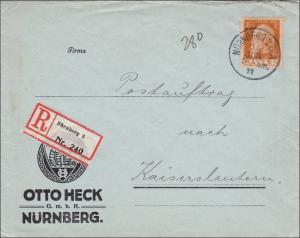 Bayern: 1911: Brief von Nürnberg nach Kaiserslautern - Postauftrag