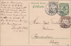 Bayern: 1910: Ganzsache von München in die Schweiz