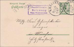 Bayern: 1910, Ganzsache von Posthilfsstelle Bolzwang nach München