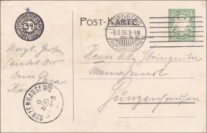 Bayern:  Ganzsache  Eröffnungsfeier Landesausstellung Nürnberg 1906