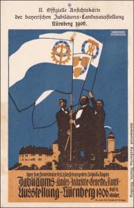 Bayern:  Ganzsache  Ansichtskarte der Bayr. Jubiläumsausstellung Nürnberg 1906