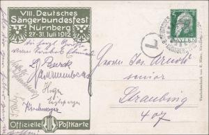 Bayern: 1912 Ganzsache vom Sängerbundfest Nürnberg