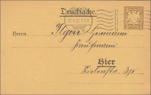 Bayern:  Ganzsache  Drucksache Ortskarte München als Wahlkarte 1907