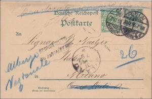Ganzsache von Köln nach Italien 1896