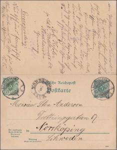 Ganzsache von Nordhausen nach Schweden 1896