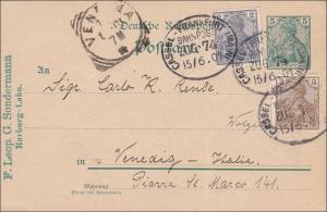 Germania: Ganzsache Kassel - Venedig 1901 mit Bahnpoststempel Kassel Frankfurt