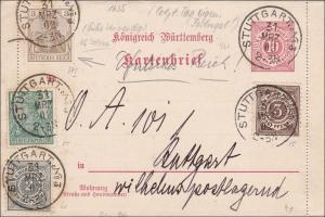 Germania: Ganzsache - Kartenbrief - Ortskarte Stuttgart 1902
