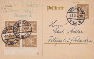 Weimar:  Ganzsache Postkarte von Berlin nach Schweden