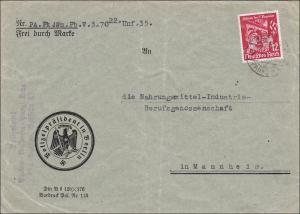 III. Reich: Brief Polizeipräsident Berlin nach Mannheim 1935: POL Lochung