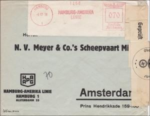 III. Reich: Hamburg-Amerika Linie Freistempel und Zensur nach Amsterdam  12.1939