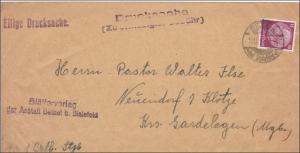III. Reich: Drucksache von Bielefeld nach Neuendorf - Magdeburg MiNr. 520 EF